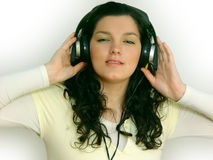 Young Girl Listening Music Stock Images