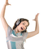 Young  girl listening to music Royalty Free Stock Image