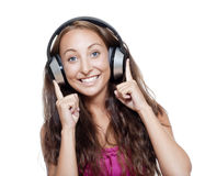Young girl listening to music Stock Photo