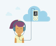 Young girl is listening to music. From cloud server Royalty Free Stock Photo