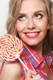 Young girl with lolipop Stock Photography
