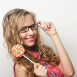 Young girl with lolipop Royalty Free Stock Photography