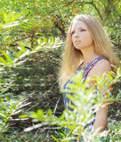 Young girl with long blonde hair in a long Board is in among the bushes of sea-buckthorn in a Sunny bright day Royalty Free Stock Photos