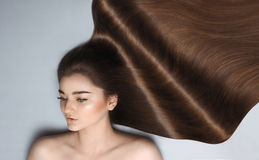 Young girl with long brown hair Royalty Free Stock Photo