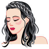Young girl with long dark hair and a braid. Long hair romantic style. Medieval hairstyle. Raster clip art vector illustration