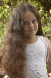 Young girl with long hair royalty free stock images