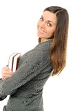 The young girl with long hair and the book Stock Photo