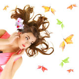 Young girl with long hair Royalty Free Stock Photos