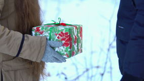 A young girl with long hair in snowy woods gives gift to young man stock footage