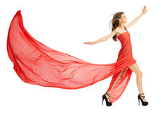 Young girl in long red cloth isolated (normal ver) Stock Photo