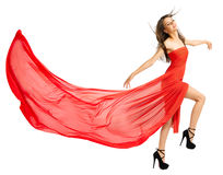 Young girl in long red cloth isolated (normal ver) Royalty Free Stock Images