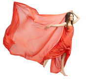 Young girl in long red cloth isolated (normal ver) Royalty Free Stock Image