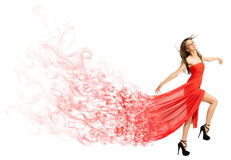 Young girl in long red cloth isolated (smoke ver) Stock Photography