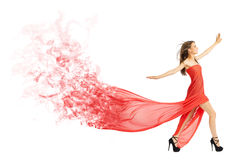 Young girl in long red cloth isolated (smoke ver) Stock Image