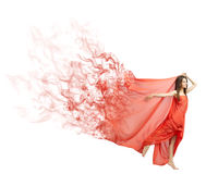 Young girl in long red cloth isolated (smoke ver) Stock Photos