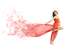 Young girl in long red cloth isolated (smoke ver) Royalty Free Stock Photos