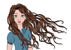 A young girl with long waving in the wind hair. Vector portrait illustration, isolated on white. vector illustration