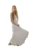Young girl in long withe dress Stock Image