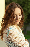 Young girl look down. Young girl with curly hair look down Royalty Free Stock Image