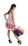 Young Girl Look In Bag And Smile Stock Images