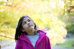 Young girl looking at autumn leaves Stock Photography