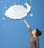 Young girl looking at cartoon night clouds with moon Royalty Free Stock Photos