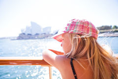 Young girl looking from ferry in Sydney Stock Images