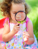 Young girl is looking at flower through magnifier Royalty Free Stock Photos