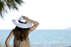 Young girl looking the horizon Stock Images