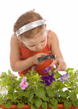 Young girl is looking through a magnifying glass Stock Images