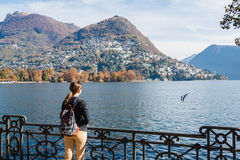 Young girl looking at the panoramic scenery. Lugano, Switzerland Stock Photo