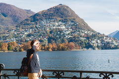 Young girl looking at the panoramic scenery. Lugano, Switzerland Stock Image