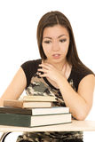 Young girl looking at a pile of books afraid facial expression Royalty Free Stock Images