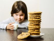 Young girl looking at a stack of cookies. Photo of a young girl staring at a tall pile of chocolate chip cookies while holding a glass of milk. Focus on the royalty free stock photography