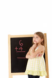 Young Girl Looking Thoughtful Next To Blackboard Royalty Free Stock Photography