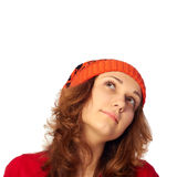 Young girl looking up. Royalty Free Stock Photography