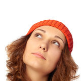 Young girl looking up. Royalty Free Stock Images