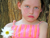 Young girl looking upset royalty free stock image
