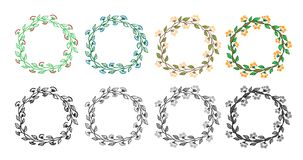 Set of 8 decorative circle frames. Set of doodle design elements. Stock Photography
