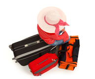 Young girl with luggages Royalty Free Stock Image