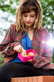 Young girl with lunch box Stock Image