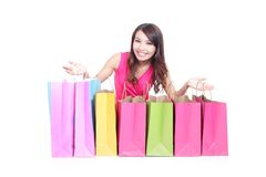 Young girl lying with shopping bags Royalty Free Stock Photo