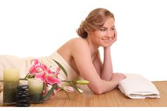 Young girl lying in a spa. Beautiful young girl lying in a spa stock photo