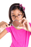 Young Girl With Magnifying Glass III Stock Image