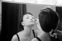 Young girl in a make-up room Royalty Free Stock Images