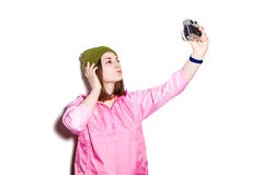 Young girl makes self-portrait Stock Images