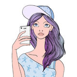 A young girl makes a selfie with a smartphone. Vector portrait illustration, isolated on white. Stock Image