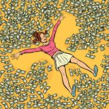 Young girl makes snow angel money dollars a lot stock illustration