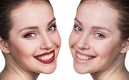 Young girl without and with makeup Stock Photos