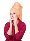 Young girl, making cosmetic mask Royalty Free Stock Photos
